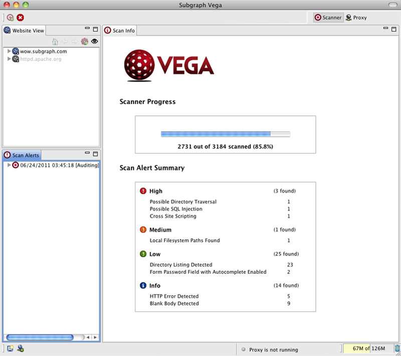 Using Vega to perform an automated vulnerability scan against a web application.