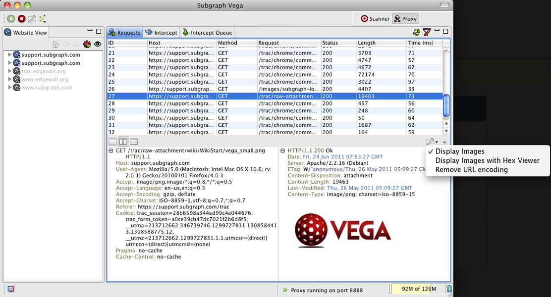 Intercepting HTTPS traffic with the Vega Proxy.